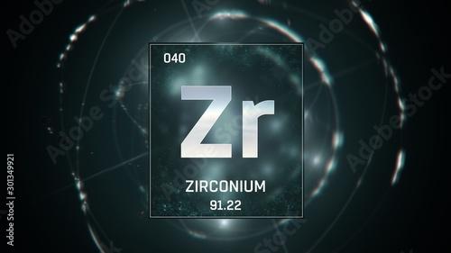 Fototapeta  3D illustration of Zirconium as Element 40 of the Periodic Table