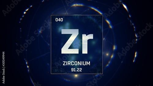 Obraz na plátne  3D illustration of Zirconium as Element 40 of the Periodic Table