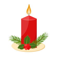 Christmas Candle With Fir Branches And Holly Berries, Vector Illustration