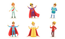Boys In Different Costumes Of Kings And Princes. Vector Illustration.