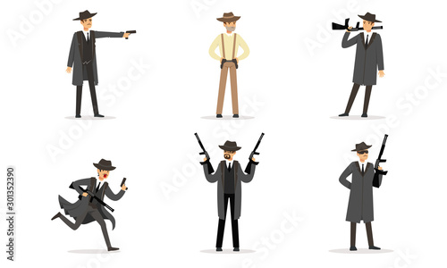 Fotografie, Obraz Men in suits of gangsters. Vector illustration.