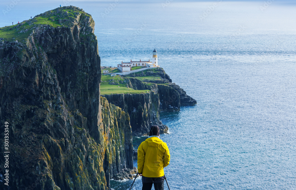 Fototapety, obrazy: Neist Point Lighthouse is one of the most popular locations for photography on the Isle of Skye , Scotland , United Kingdom