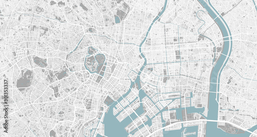 Detailed map of Tokyo, Japan Wallpaper Mural