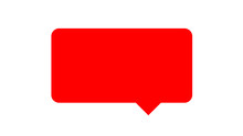 Rectangle Red For Speech Bubble Simple Isolated On White, Speech Bubble Of Message, Square Frame Bubble Sign For Text, Empty Speech Box For Infographic Dialog Talk, Template Speech Frame For Banner Ad
