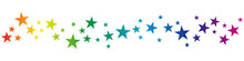 Christmas Vector Banner. Rainbow Stars On White Background