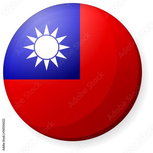 Fototapeta Circular country flag icon illustration ( button badge ) / Taiwan