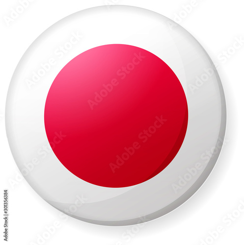 Obraz na plátně Circular country flag icon illustration ( button badge ) / Japan