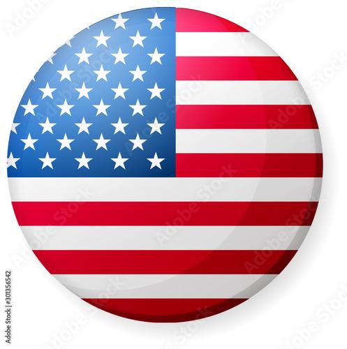 Fototapeta Circular country flag icon illustration ( button badge ) / USA, America, stars and stripes