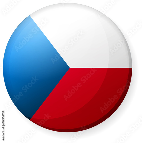 Obraz na plátně Circular country flag icon illustration ( button badge ) / Czech republic