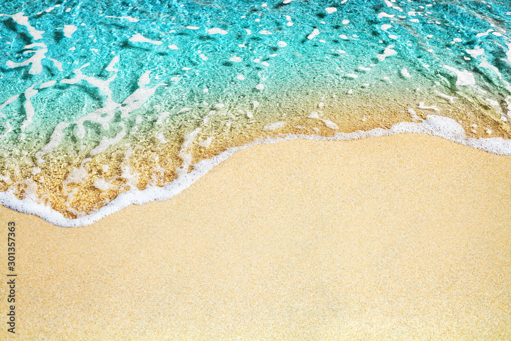 Fototapety, obrazy: Blue sea wave, white foam, golden sand beach, turquoise ocean water close up, summer holidays border frame concept, tropical island vacation backdrop, tourist travel banner design template, copy space