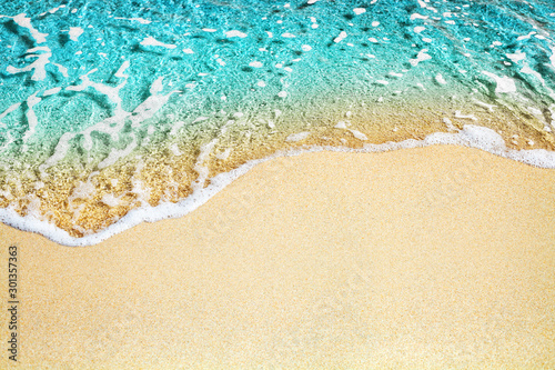 Obraz Blue sea wave, white foam, golden sand beach, turquoise ocean water close up, summer holidays border frame concept, tropical island vacation backdrop, tourist travel banner design template, copy space - fototapety do salonu
