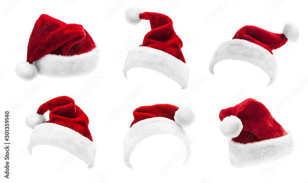 Fototapeta Set of Red Santa Claus Hats Isolated