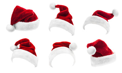 Set of Red Santa Claus Hats Isolated