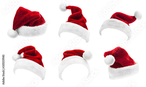 Canvas Prints Countryside Set of Red Santa Claus Hats Isolated