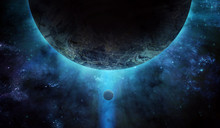 Huge Planet From Space And Blue Stars, Abstract Space Illustration