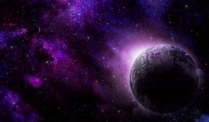 planet from space and violet nebula in the night sky, abstract space illustration
