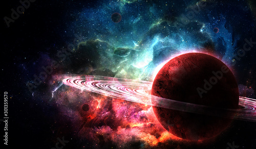 red planet from space and bright color nebula in the night sky, abstract space i Fototapeta