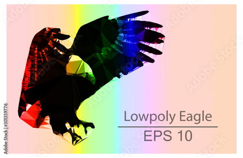 Lowpoly Eagle Colorful  llustration Wallpaper Mural