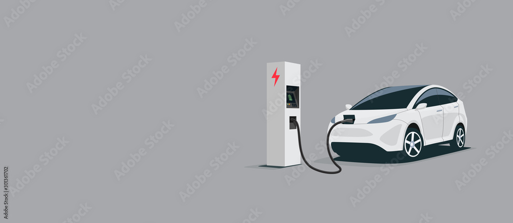 Fototapety, obrazy: Vector illustration of a smart luxury white electric plug car charging at the electro charger station. Car battery getting fast recharged. Clean e-mobility illustration isolated on grey background.