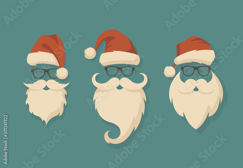 Fotomural  Vector set of faces with Santa hats, mustache and beards