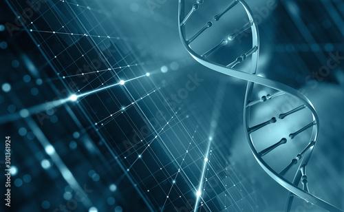 Obraz DNA helix. Hi Tech technology in field of genetic engineering. Digital nanostructure. 3D illustration on a futuristic background - fototapety do salonu