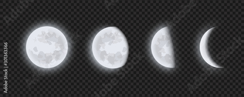 Photo Moon phases, waning or waxing crescent moon on transparent checkered background