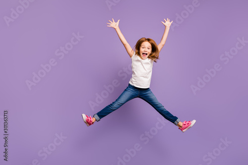 Full length photo of funny small foxy lady jumping high rejoicing making star sh Fototapet