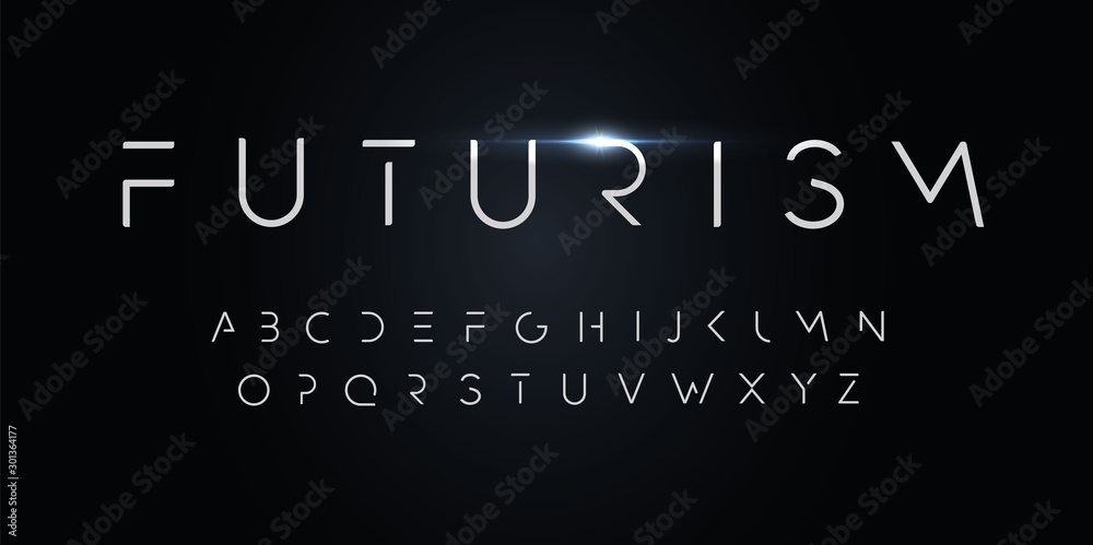 Fototapeta Futurism style alphabet. Thin segment line font, minimalist type for modern futuristic logo, elegant monogram, digital device and hud graphic. Minimal style letters, vector typography design.