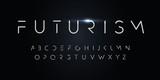 Futurism style alphabet. Thin segment line font, minimalist type for modern futuristic logo, elegant monogram, digital device and hud graphic. Minimal style letters, vector typography design.