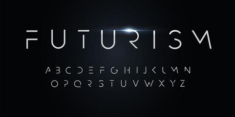 Fototapeta na wymiar Futurism style alphabet. Thin segment line font, minimalist type for modern futuristic logo, elegant monogram, digital device and hud graphic. Minimal style letters, vector typography design.