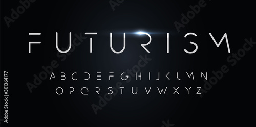 Futurism style alphabet. Thin segment line font, minimalist type for modern futuristic logo, elegant monogram, digital device and hud graphic. Minimal style letters, vector typography design. - 301364177
