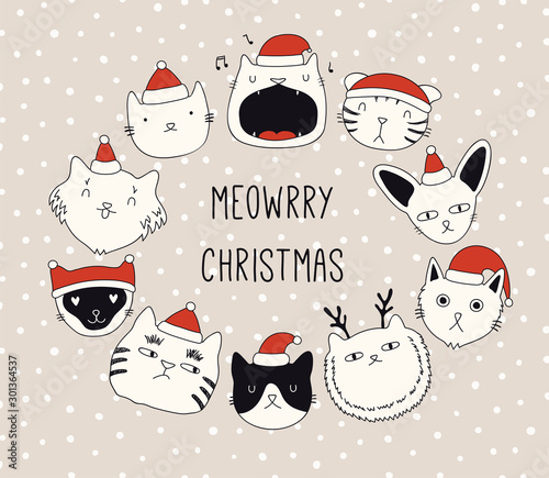 Papiers peints Des Illustrations Hand drawn card, banner with different cute cats faces in Santa Claus hats, text Meowrry Christmas. Vector illustration. Line drawing. Isolated objects. Design concept for holiday print, invite.