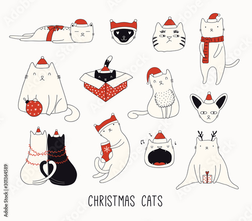Papiers peints Des Illustrations Collection of cute funny doodles of different cats in Santa Claus hats. Isolated objects on white background. Hand drawn vector illustration. Line drawing. Design concept for Christmas card invite.