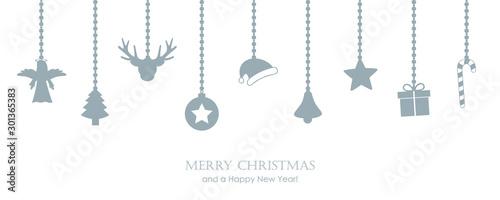 Fotografía christmas greeting card with hanging decoration fir santa cap angel gift candy c