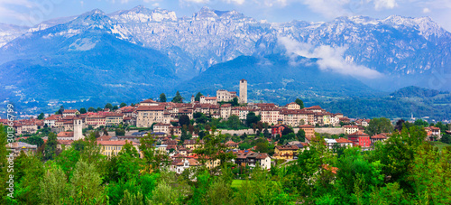 Beauatiful mountain village Feltre in Dolomite Alps, Belluno province, Italy