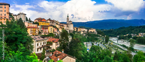 Travel in northern Italy - beautiful Belluno town surrounded by Dolomite mountains