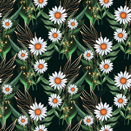 Seamless pattern with white daisies and green leaves on black background