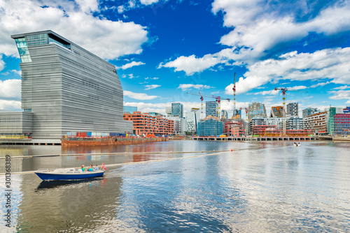 Cityscape of downtown Oslo with modern architecture, boat with a group of people Canvas Print