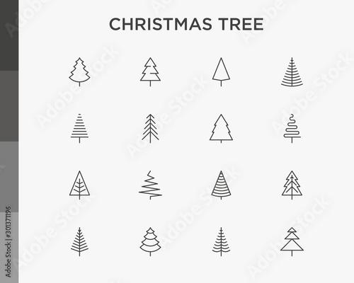 Obraz na płótnie Christmas tree in different shapes