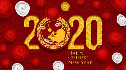 2020 Chinese New Year Greeting Card. Year of the Rat. Chinese New-Year. Paper cut with Rat and Flowers. gong xi fa cai 2020. Hieroglyph - Zodiac Sign Rat. Place for your Text.