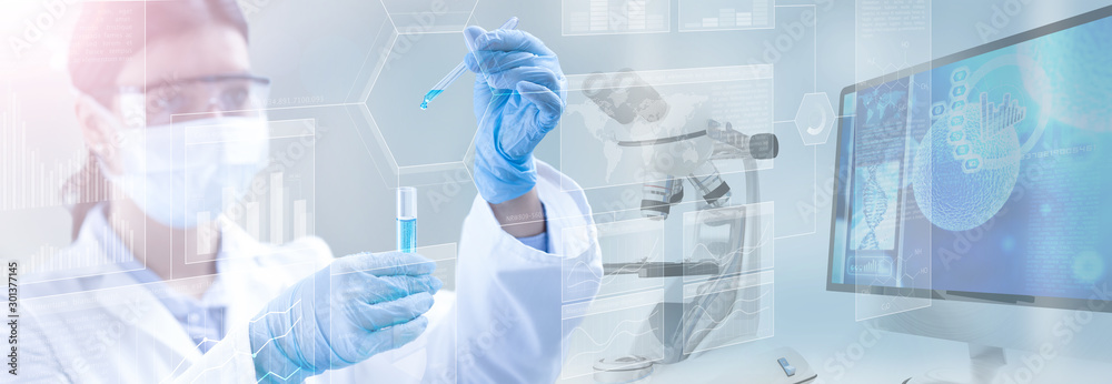 Fototapeta scientist holding a test tube in a scientific background, 3d illustration