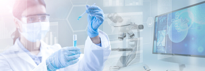 scientist holding a test tube in a scientific background, 3d illustration