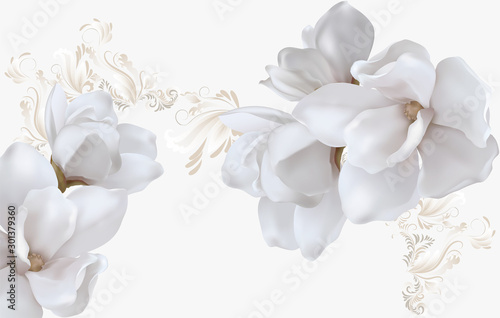 Stampa su Tela Delicate light background with magnolias