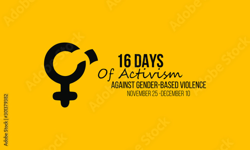 Vector illustration on the theme of Activism against gender based violence from 25th November to 10th December Canvas Print