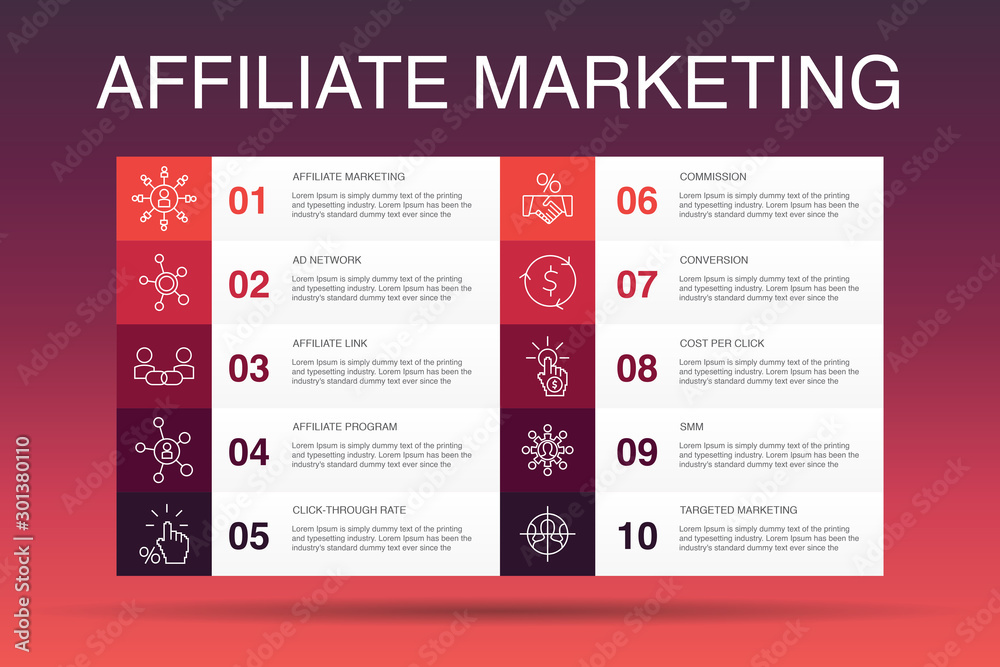 Fototapeta affiliate marketing Infographic 10 option template.Affiliate Link, Commission, Conversion, Cost per Click simple icons