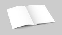 White Blank Opened Magazine With Soft Shadows On Dark Background, Mock Up