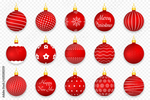 Obraz Red Christmas Balls - fototapety do salonu