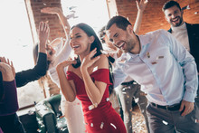 Photo Of Crowd Group Best Friends Dance Floor Congratulating Girlfriend Birthday Party Fellowship Wear Formalwear Red Dress Shirts Favorite Restaurant Place Indoors