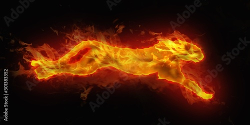 Obraz digital illustration of fire cheetah - fototapety do salonu