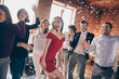 canvas print picture - Photo of crazy friends on dance floor x-mas students party listening favorite songs resting bar together little drunk wear formalwear dress shirts restaurant indoors